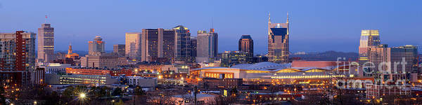 Nashville Poster featuring the photograph Nashville Skyline At Dusk Panorama Color by Jon Holiday