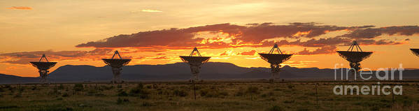 Satellite Dish Poster featuring the photograph Very Large Array At Sunset by Matt Tilghman