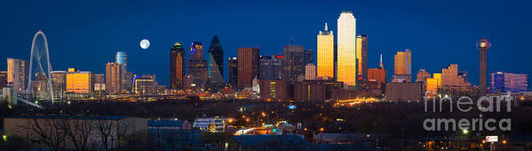 Dallas Poster featuring the photograph Dallas Skyline Panorama by Inge Johnsson