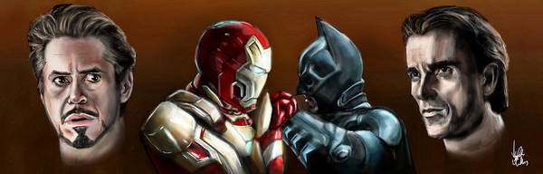 Batman Poster featuring the painting Stark Industries Vs Wayne Enterprises by Vinny John Usuriello