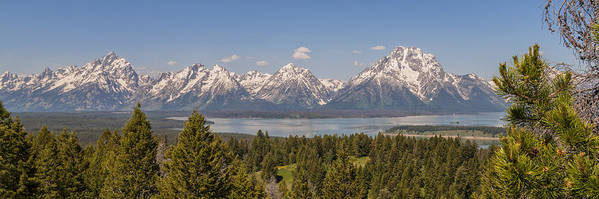 Grand Tetons Over Jackson Lake Grand Teton National Park Panoramic Landscape Poster featuring the photograph Grand Tetons Over Jackson Lake Panorama by Brian Harig