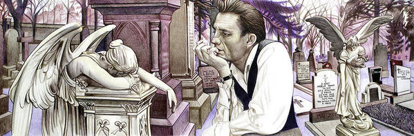 Johnny Cash Poster featuring the drawing Johnny Cash-hurt by Joshua Morton