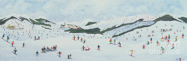 Snow; Ski School; Naive; Chalet Poster featuring the painting On The Slopes by Judy Joel