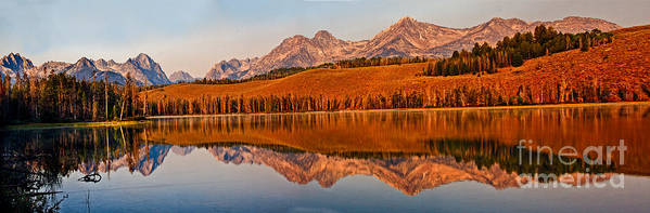 Rocky Mountains Poster featuring the photograph Panoramic Of Little Redfish Lake by Robert Bales