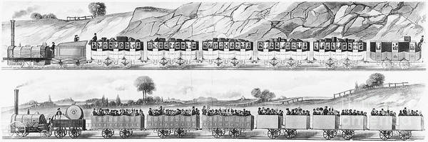 1833 Poster featuring the photograph England: Railroad Travel by Granger