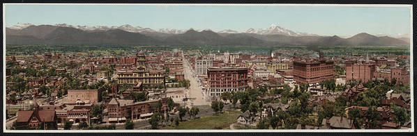 1890s Poster featuring the photograph Denver, Colorado, Photochrom By William by Everett