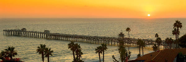 San Clemente Poster featuring the photograph On Golden Pier by Gary Zuercher