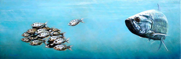 Underwater Poster featuring the painting Tampa Bay Tarpon by Joan Garcia