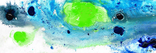 Blue Poster featuring the painting Green Blue Art - Making Waves - By Sharon Cummings by Sharon Cummings