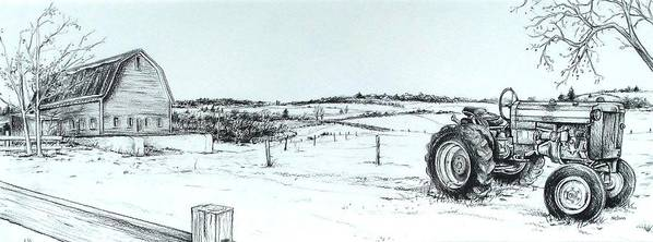 Tractor Poster featuring the drawing Parked Tractor by Scott Nelson