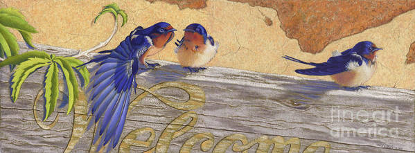 Bird Poster featuring the pastel The Welcome Committee by Tracy L Teeter