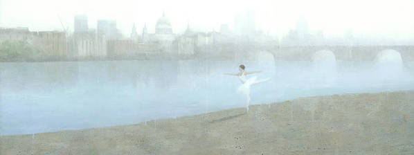 Ballerina Poster featuring the painting Ballerina On The Thames by Steve Mitchell