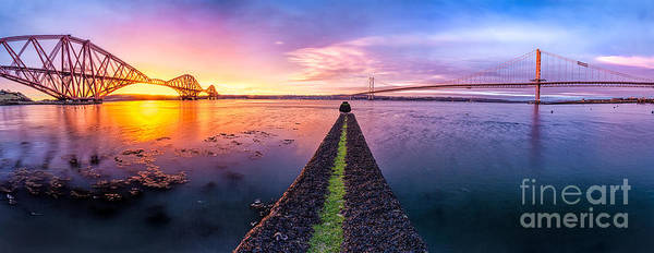 East Coast Poster featuring the photograph Both Forth Bridges by John Farnan