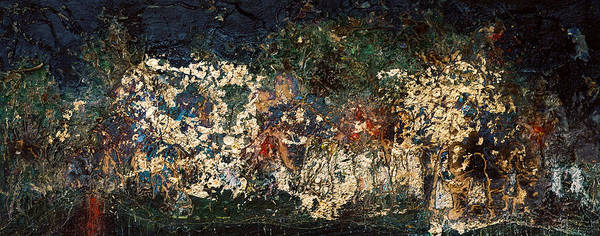 Abstract Poster featuring the painting The Garden Of Gethsemane by Jonathan E Raddatz