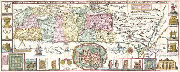 This Is An Extraordinary C. 1632 Map Of The Holy Land By The Jesuit Monk Jacobus Tirinus. Oriented To The East Poster featuring the photograph 1632 Tirinus Map Of The Holy Land by Paul Fearn