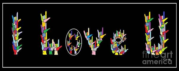 American Sign Language Poster featuring the painting American Sign Language I Love U  by Eloise Schneider