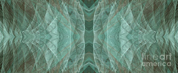 Abstract Poster featuring the digital art Crashing Waves Of Green 2 - Panorama - Abstract - Fractal Art by Andee Design