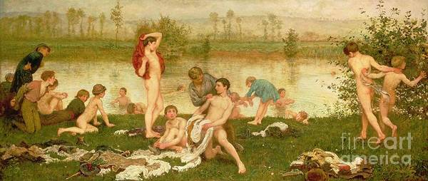 Nude Poster featuring the painting The Bathers by Frederick Walker