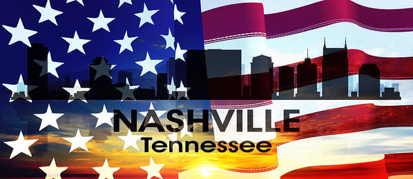 Tn Poster featuring the mixed media Nashville Tn Patriotic Large Cityscape by Angelina Vick