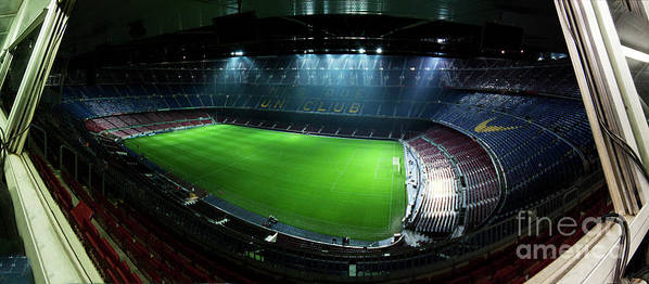 Camp Nou Poster featuring the photograph Camp Nou At Night by Agusti Pardo Rossello