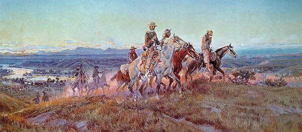 Riders Of The Open Range (oil On Canvas) By Charles Marion Russell (1865-1926) Poster featuring the painting Riders Of The Open Range by Charles Marion Russell