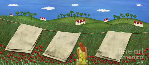 Clothesline Sheets Hanging Poster featuring the mixed media Soft Breeze by Anne Klar