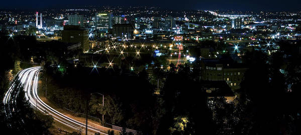 Spokane Poster featuring the photograph Spokane Washington Skyline At Night by Daniel Hagerman