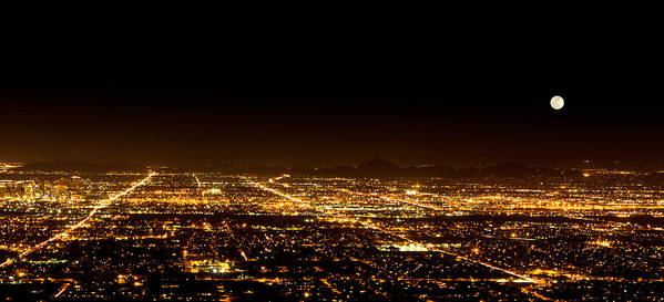 united States Poster featuring the photograph Super Moon Over Phoenix Arizona by Susan Schmitz
