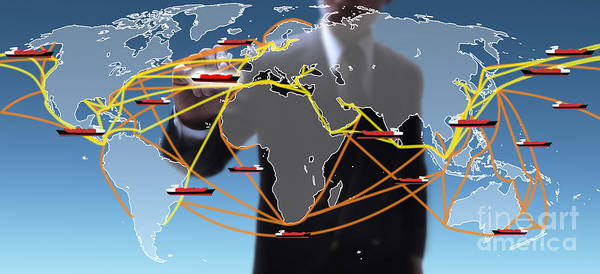Business Poster featuring the digital art World Shipping Routes Map by Atiketta Sangasaeng