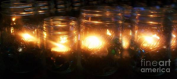 Candles Poster featuring the photograph Illuminated Mason Jars by Christy Beal