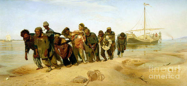 The Poster featuring the painting The Boatmen On The Volga by Ilya Efimovich Repin