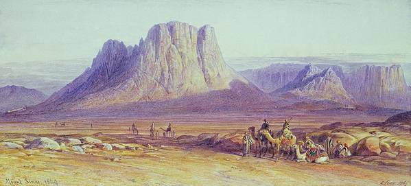 The Poster featuring the painting The Camel Train by Edward Lear