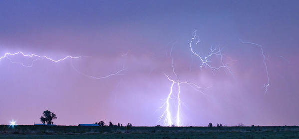 Lightning Poster featuring the photograph Thunderstorm On The Colorado Plains Panorama by James BO Insogna