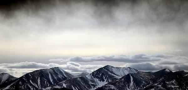 Winter Storm Cloud Virga Mist Over Sangre De Cristo Poster featuring the photograph Dark Storm Cloud Mist by Barbara Chichester