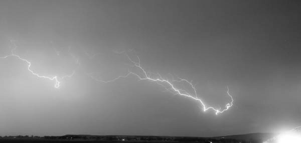 Lightning Poster featuring the photograph Lightning Bolts Coming In For A Landing Panorama Bw by James BO Insogna