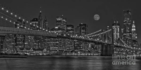 Brooklyn Bridge Poster featuring the photograph Moonrise Over The Brooklyn Bridge Bw by Susan Candelario