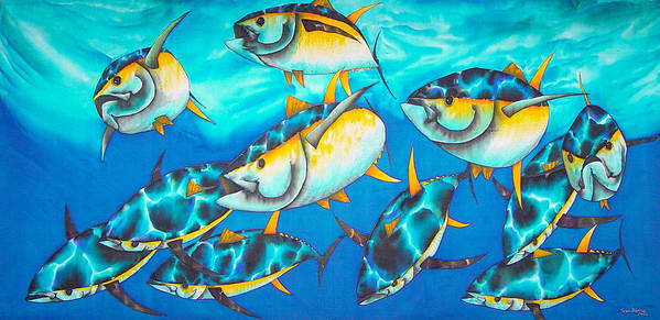 Yellowfin Tuna Poster featuring the painting Crossin The Atlantic by Daniel Jean-Baptiste