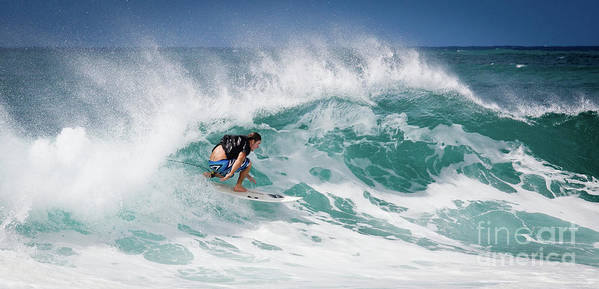 Oahu Poster featuring the photograph Big Wave Surfer At La Perouse Bay Maui by Denis Dore