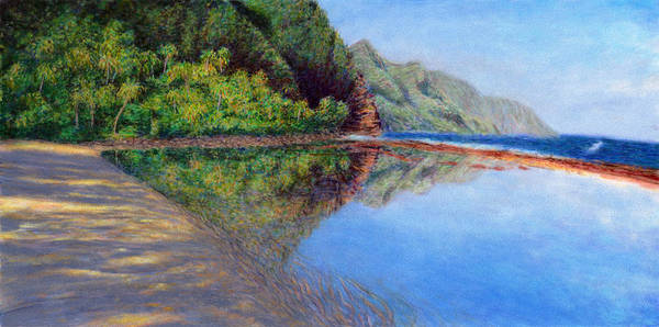 Rainbow Colors Pastel Poster featuring the painting Ke'e Morning by Kenneth Grzesik