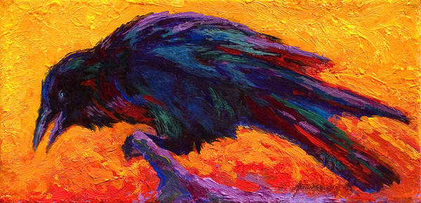 Crows Poster featuring the painting Raven by Marion Rose