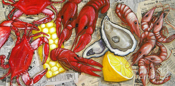 Seafood Poster featuring the painting The Daily Seafood by JoAnn Wheeler