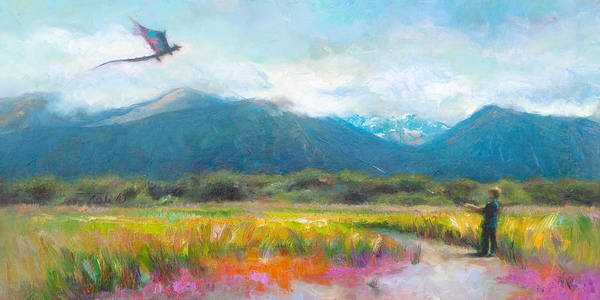 Landscape Poster featuring the painting Face Off - Boy Facing His Dragon Kite by Talya Johnson