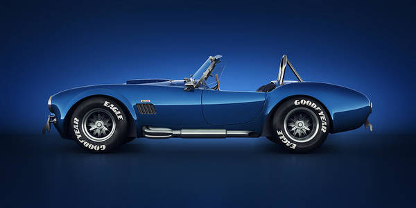 Transportation Poster featuring the digital art Shelby Cobra 427 - Water Snake by Marc Orphanos
