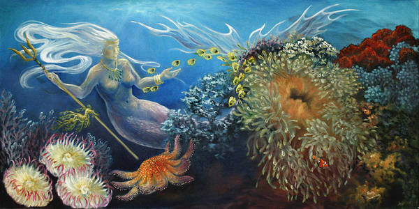 Sea Poster featuring the painting Neptune's Daughter by Ann Beeching