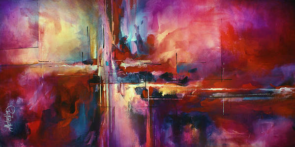 Abstract Poster featuring the painting 'city Of Fire' by Michael Lang