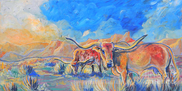 Longhorn Cattle Poster featuring the painting The Longhorns by Jenn Cunningham