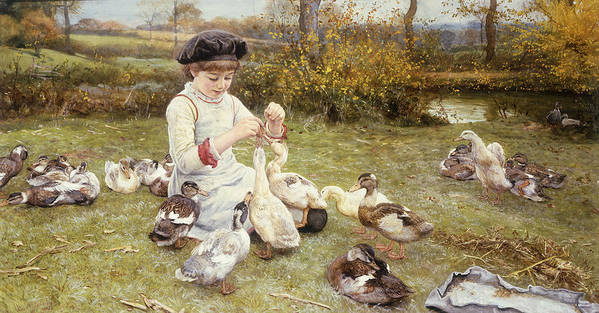 Feeding; Ducks; Duck; Bird; Birds; Grass; Grassy; Bank; Riverbank; Child; Young; Youth; Girl; Seated; Beret; Cap; Hat; Rural; Countryside; Idyllic; Meadow; Poster featuring the painting Feeding Ducks by Edward Killingworth Johnson