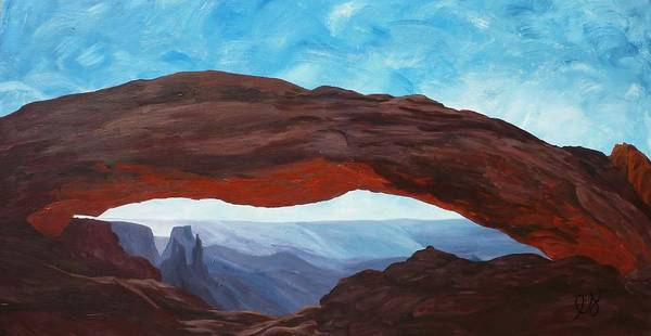 Canyonlands Poster featuring the painting Sunrise At Mesa Arch by Estephy Sabin Figueroa