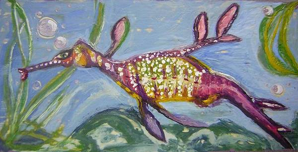 Sea Dragon Poster featuring the painting Anthropomorphic Sea Dragon 2 by Michelley QueenofQueens