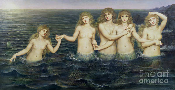 Fairy Tale; Pre-raphaelite; Sisters; Sea; Fish Tails; Breast; Nude; Mermaid; Mermaids; Five; 5 Poster featuring the painting The Sea Maidens by Evelyn De Morgan